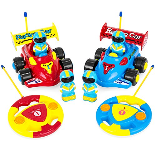 Best Choice Products Kids 2-Channel Remote Control Educational Race Car Toy w/ Action Figures, Lights, Music - - Channel Dia Set