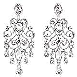 BriLove Women's Vintaged Style Bridal Crystal Drop Hollow Chandelier Filigree Dangle Earrings