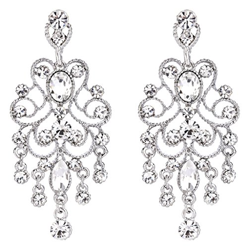 BriLove Women's Vintaged Style Bridal Crystal Drop Hollow Chandelier Filigree Dangle Earrings Silver-tone Clear (Dangling Chandelier Earrings)