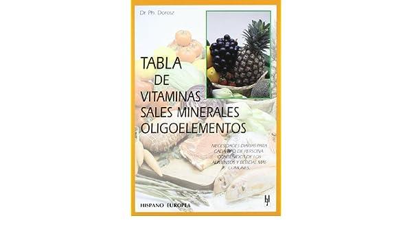 Tabla de vitaminas, sales minerales, oligoelementos (Spanish Edition): P. Dorosz: 9788425513558: Amazon.com: Books