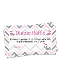 Pink and Gray Elephant Baby Girl Shower Diaper Raffle Tickets (Set of 25) BOBEBE Online Baby Store From New York to Miami and Los Angeles