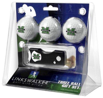 (LinksWalker Marshall Thundering Herd 3 Golf Ball Gift Pack with Spring Action)