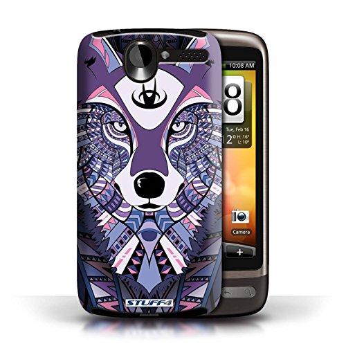 Etui / Coque pour HTC Desire G7 / Loup-Pourpre conception / Collection de Motif Animaux Aztec