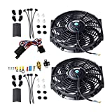 Maxon Auto Corporation Black 2X 12 Universal Electric Cooling Fan Push Pull Electric Radiator Slim Fan + Thermostat Relay + Mounting Kits