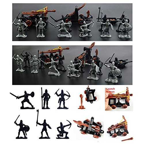 14 pcs/set Knights Medieval Toy Catapult Crossbow Soldiers Figures Playset Plastic Model Toys Gift For Children (Soldier Model)