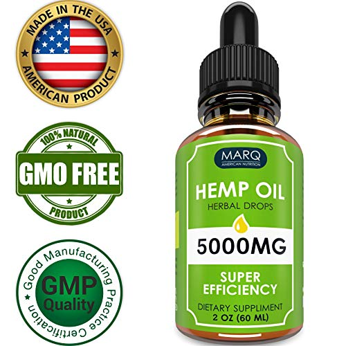 Hemp OIl Drops (5000MG) - Best Natural Hemp Seed oil - Premium Colorado Seed Extract - Only Natural Ingredients - for Pain and Inflammation Relief, Reduces Stress and Anxiety, Provides Restful Sleep