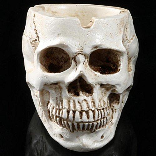BERTERI Skeleton Head Style Ashtray Resin Simulation Head Model Halloween Home Decoration