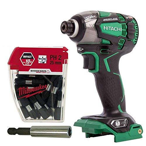 Hitachi /& HiKOKI WH18DBDL2//W4 18v Brushless Impact Driver Body 60mm Magnetic Bit Holder