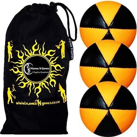 Flames N Games ASTRIX UV Thud Juggling Balls set of 3 (BLACK/ORANGE) Pro 6 Panel Leather Juggling Ball Set & Travel Bag!