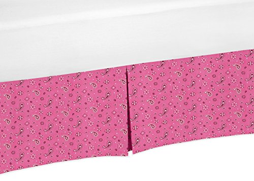 Sweet Jojo Designs Pink Bandana Crib Bed Skirt Dust Ruffle for Girls Cowgirl Collection Baby Bedding Sets