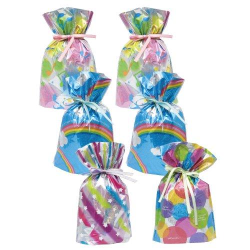 Gift Mate 21008-6 6-Piece Drawstring Gift Bags, Medium, Celebration Assortment -