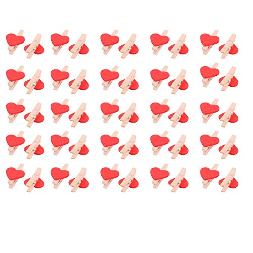 50 Pcs Red Heart Accent White Wooden Spring Clothespins Memo Clips - 6