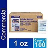 Bulk Dish Chlorine Non-Rinse Restaurant Sanitizer by Clean Quick Professional, for use in Commercial Kitchens on Food-Processing Equipment/Utensils or as Sanitizer for Glass, Dishes, and Silverware, 1 oz. Packets (Case of 100)