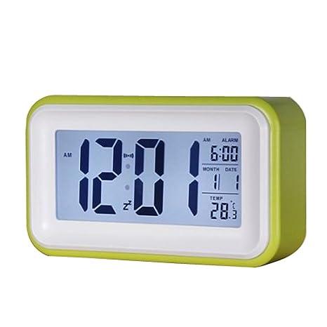 SODIAL(R) Toque Alarma Reloj Digital LCD de luz LED de luz de fondo