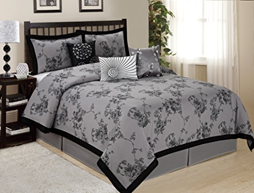 Tan Floral Queen Comforter - 7 Piece SUNRISE Floral Printed Comforter Set Queen King CalKing Size (King, Gray)