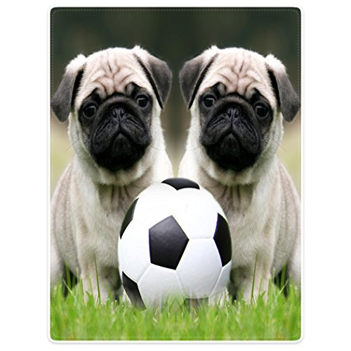 SXCHEN Blankets Plush Sofa Bed Throw Blanket Funny Pug Dogs With Soccer Ball Football 30''x40'' by SXCHEN