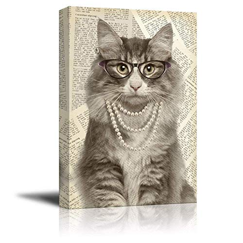 EZON-CH Creative Animal Figure on Vintage Paper Canvas Wall Art - Lady Cat Wearing Glasses Pearl Necklace - Giclee Print Gallery Wrap Modern Home Decor Ready to Hang - 8