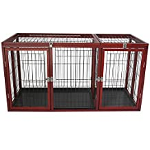 PawHut Deluxe Large Wooden Iron Pet Cage Dog Crate with Divider 54.3-inchL x 24.8-inchW x 27.3-inchH
