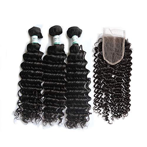 Human Hair Bundles with Closure Deep Wave 100% Remy Malaysian Hair Weave 3 Bundles With Lace Closure Natural Color,26 26 28 & Closure20,Free Part -