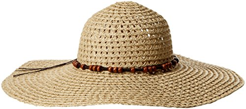 Boho-Chic Vacation & Fall Looks - Standard & Plus Size Styless - Lucky Brand Women's Wide Brim Floppy Hat, Natural, One Size
