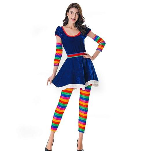 TUWEN Halloween Traje Arco Iris Color Caramelo Circo Payaso Traje ...
