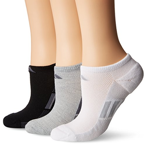 adidas Womens Climacool Superlite No Show Socks (3-Pack), Grey/Black/Onix/White/Clear Grey, Size 5-10