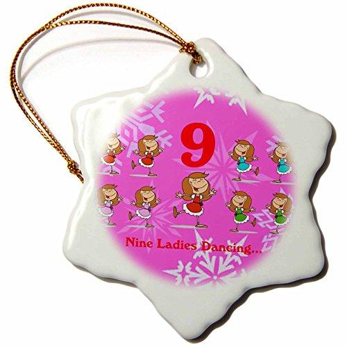 3dRose 12 Days of Christmas Nine Ladies Dancing Snowflake Ornament, 3