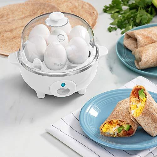 Elite Cuisine EGC-007 Easy Electric Egg Poacher, Omelet & Soft, Medium, Hard-Boiled, Deviled Egg Cooker with Auto-Shut off and Buzzer, 7 Egg Capacity, White
