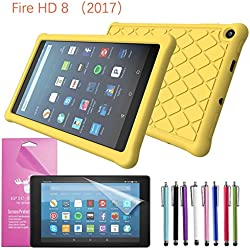 """2017 Amazon Fire HD 8 Case Silicone, EpicGadget(TM) Slim Anti-Slip Soft Rubber Silicone Gel Case Cover For (7th Generation)Fire HD 8, 8"""" HD Display Tablet +Fire HD 8 Clear Screen Protector (Yellow)"""
