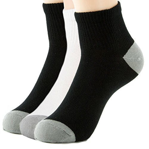 3-Pack Healthy and Natural Casual Bamboo Ankle Socks for Men, Women and Teens, Super Soft Luxurious Fabric, Irritation-Free, Lay-Flat Seams by Natural Underwear, Grey Heel Theme 1, Large
