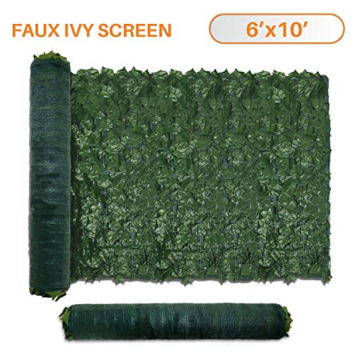 TANG Sunshades Depot 6' FT x 10' FT Artificial Faux Ivy Privacy Fence Screen Leaf Vine Decoration Panel with 130 GSM Mesh - High Slat