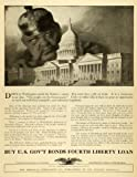 1918 Ad United States Government Capitol World War I Bonds Civilian Efforts WWI - Original Print Ad