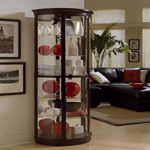 Cabinet Display China Curio (Pulaski Half Round Curio, 32 by 17 by 76-Inch, Dark Brown)