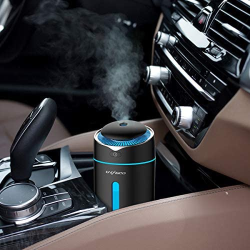 CACAGOO Car Diffuser USB Car Humidifier 300ml Ultrasonic Humidifier with 7 Colors LED Light,Quiet Operation Auto Shut-Off for Baby Room Office Car Travel Black