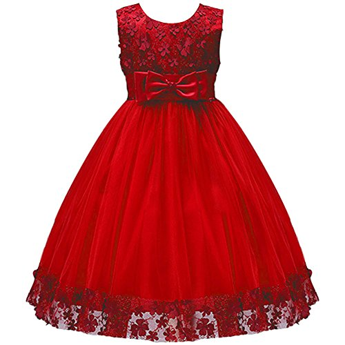 IBTOM CASTLE Big Little Girl Ball Gown Lace Flower Girl Dresses for Wedding Red 5-6 Year ()