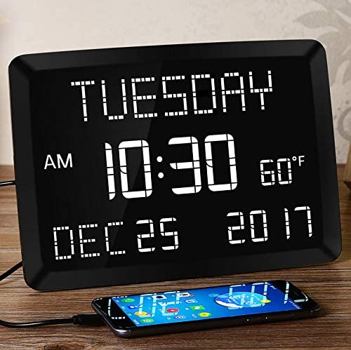11.5 Large Alarm Clock for Bedroom, Calendar Day Clock, Impaired Vision Digital LED Kitchen Desk Wall Clock with Temperature, 5 Dimmer, 3 Alarms, 2 USB Chargers, DST, 12 24 H for Elderly, Memory Loss