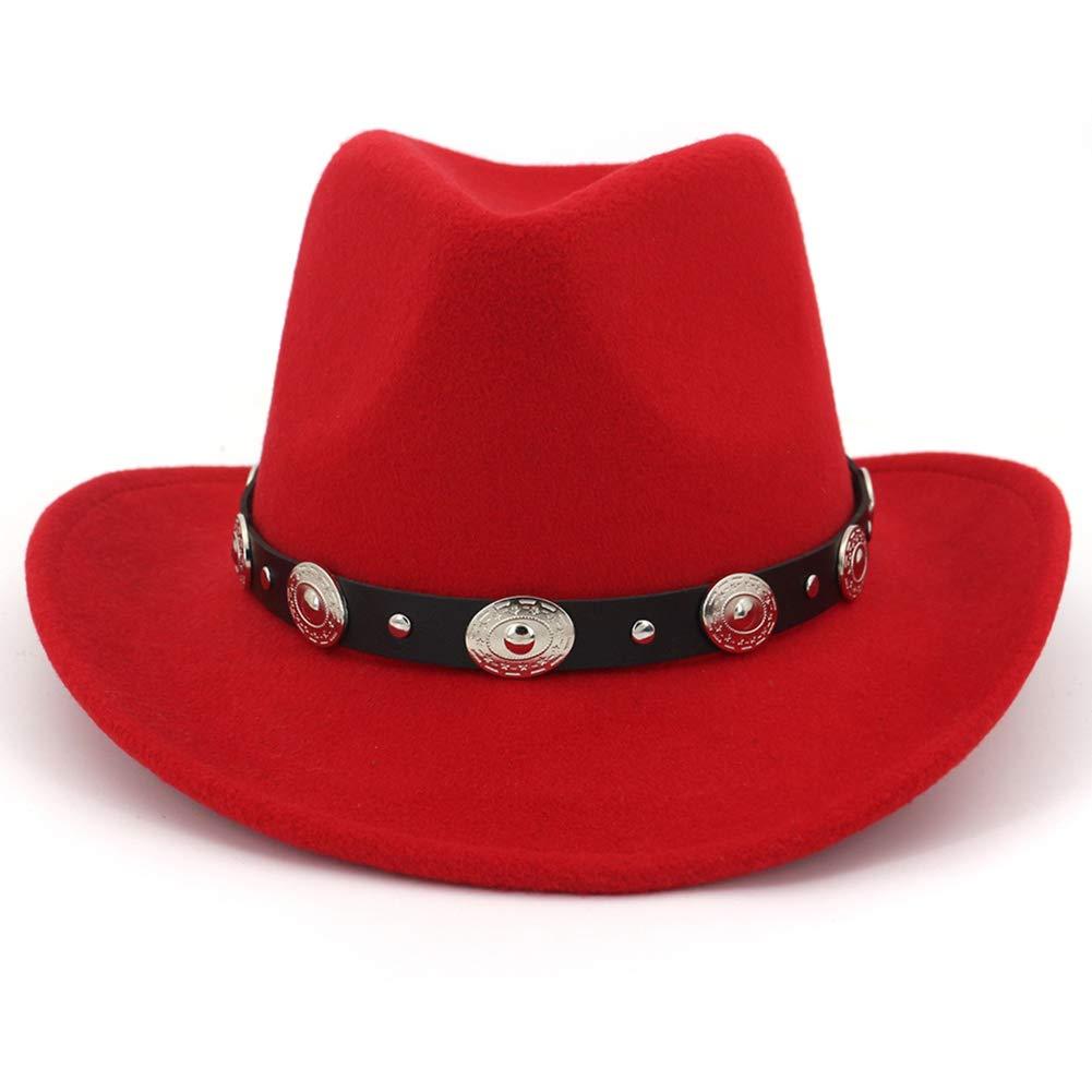 Lisianthus Men & Women's Felt Wide Brim Western Cowboy Hat Red