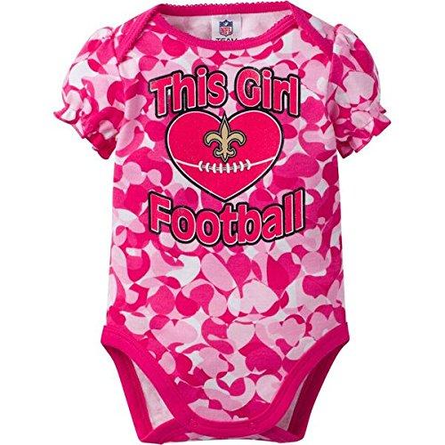 NFL New Orlean Saints Baby-Girls Heart Camo Bodysuit, Pink, 3-6 Months