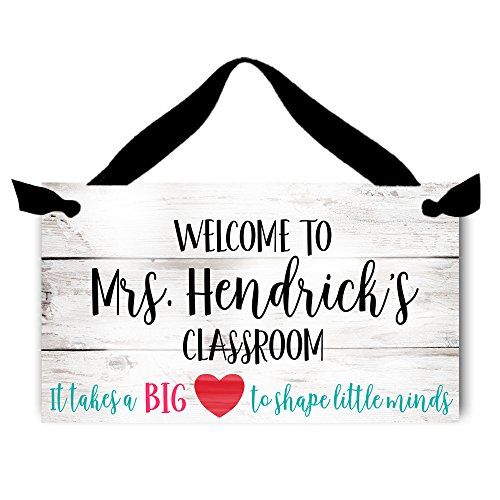 Toad and Lily It Takes a Big Heart Teachers Saying Quotation White Rustic Classroom Door Sign Teacher End of Year Gift TDS042 -