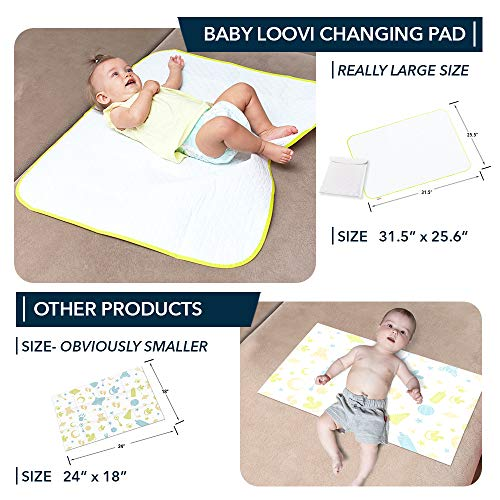 "Portable Changing Pad - Biggest Reusable Changing Mat 25.5""x31.5""- Comfortable Diaper Change Mat White Color - Reinforced Seams - Free Multi-Function Storage Bag"