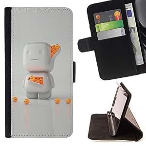 For Samsung Galaxy J1 J100 Case , 3D Blanco Naranja Carácter lindo- la tarjeta de Crédito Slots PU Funda de cuero Monedero caso cubierta de piel