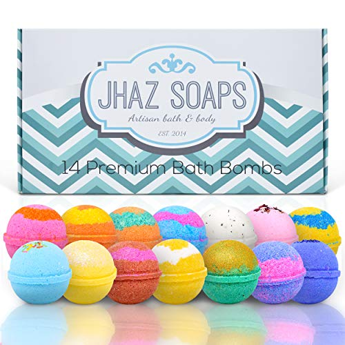 14 Bath Bombs by Jhaz Soaps: Bubble Bath, Lush Bath Experience, Bath Bombs for Kids, Non Staining, Relaxing and Moisturizing Ingredients, Made in the USA    ]()