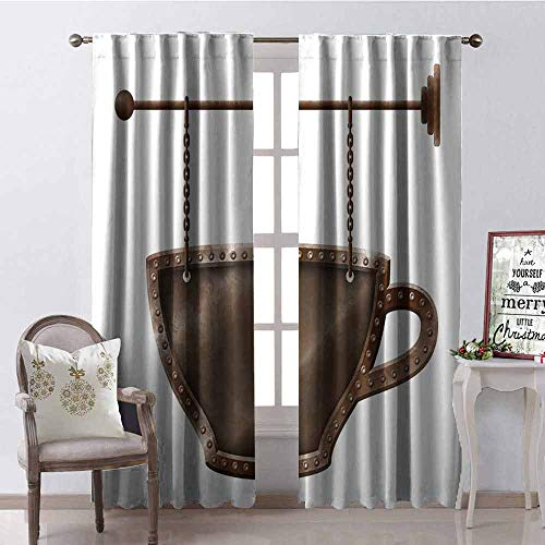 - GloriaJohnson Coffee 99% Blackout Curtains Old Rusty Cup Hanging Signboard on Chains Grungy Rough Looking Mug Caffeine Drink for Bedroom Kindergarten Living Room W52 x L95 Inch Umber White