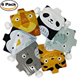 Reusable Food Pouch for Homemade Organic Food for Babies and Toddlers, BPA Free Self Standing Baby Food Pouches with Leak Proof Double Zipper, 5 fl oz Refillable Squeeze Pouches, Zoo Animals, 6 Pack