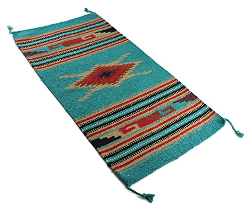 Onyx Arrow Southwest Décor Area Rug, 20 x 40 Inches, Eagle Eye, Green/Tan