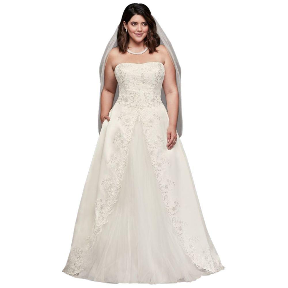 Embroidered Satin Split Plus Size Wedding Dress Style 9wg3863 At