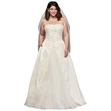 0003314e19c Embroidered Satin Split Plus Size Wedding Dress Style 9WG3863 at Amazon  Women s Clothing store
