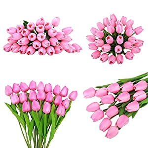 Bomarolan Artificial Tulip Fake Holland Mini Tulip Real Touch Flowers 24 Pcs for Wedding Decor DIY Home Party (Pink) 3