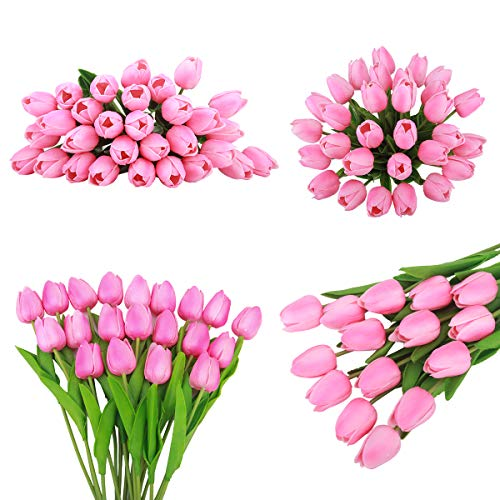 Bomarolan-Artificial-Tulip-Fake-Holland-Mini-Tulip-Real-Touch-Flowers-24-Pcs-for-Wedding-Decor-DIY-Home-Party-Pink