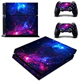 Cheap Decal Moments PS4 Console Set Vinyl Skin Decal Stickers Protective for PS4 Playstaion 2 Controllers-Purple Galaxy